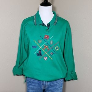 Vtg Cat Theme Embroidered Sweatshirt Green Large